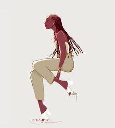 assise Black Girl Art, Black Art, Art Girl, Afro Art, Black Women Fashion, Oeuvre D'art, Cartoon Art, Cute Art, Les Oeuvres