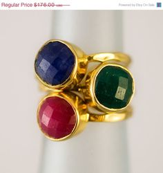40 OFF  Gemstone Ring  Stackable Rings  Gold Rings   by delezhen, $105.60
