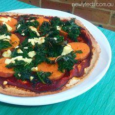 Pizza Di Patate Dolci #sweetpotato #kalepizza #hellofresh @hellofreshau #feta #newlyfeds