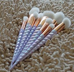 Our gorgeous 10 piece UNICORN makeup brush set is now available to order! Pearlescent purple horns and rose gold attachments. <3 http://jolie-beauty.co.uk  #makeup