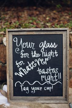 Fun signage to keep glasses in check! Photography by markelkinsphotography.com Event + Floral Design by sittininatreeweddings.com Event Coordination by sittininatreeweddings.com  Read more - http://www.stylemepretty.com/2013/06/10/lakemont-georgia-wedding-from-mark-elkins-photography/