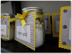 Baby Shower Favors. Grey and yellow theme.