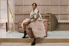 Rihanna x Stance Summer 2016 ad campaign Raf Simons kollaps hoodie, Maria Lucia Hohan Persephone tulle bridal dress, black lace socks, Puma by Rihanna fur slides