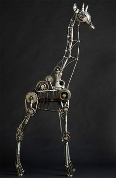 Steampunk Giraffe by Andrew Chase, who built the giraffe from transmission parts, plumbing pipe & electrical conduit. The long-necked beauty features fully rotating & locking joints & neck that can be raised & lowered. It's an impressive 6 feet tall & took Andrew about 80 hours to build.