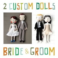 Custom Bride and Groom Rag Dolls Wedding Portrait by simplijessi