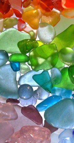 sea glass in the colors of the rainbow Sea Glass Beach, Sea Glass Art, Sea Glass Jewelry, Taste The Rainbow, Over The Rainbow, World Of Color, Color Of Life, All The Colors, Vibrant Colors