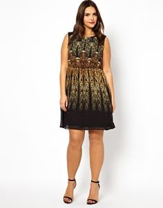 Skater Dress In Gold Baroque Print from ASOS