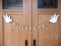 Holz Girlande Willkommen Vögel weiß ❤ 100 cm ❤ Party Hochzeit Dekoration Shabby