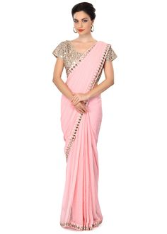 Baby pink saree embellished in sequin and mirror embroidery only on Kalki