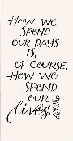 """How we spend our days is, of course, how we spend our lives."" #quotes"