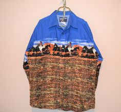 Vintage Western Horses in Sedona Shirt by CheekyVintageCloset on Etsy Wrangler Shirts, Vintage Shirts, Rockabilly, Royal Blue, Westerns, Ready To Wear, Sequin Skirt, Horses