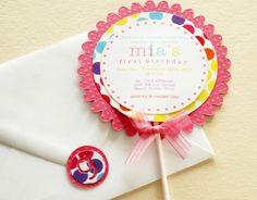 Lollipop Birthday Invitations - Candyland Happy Polka Dots Edition (Pink Aqua Yellow Lime Purple Orange). $2.50, via Etsy.