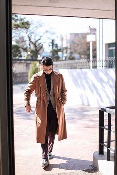 Camel topcoat, grey PoW blazer, black turtleneck, brown pants, casual Friday