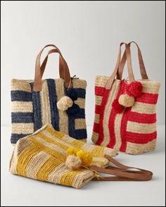 Crochet Bags Ideas Mar Y Sol Havana Raffia Tote - Mexico - Crochet Shell Stitch, Crochet Tote, Crochet Handbags, Crochet Purses, Italian Leather Handbags, Purse Patterns, Crochet Patterns, Knitted Bags, Handmade Bags