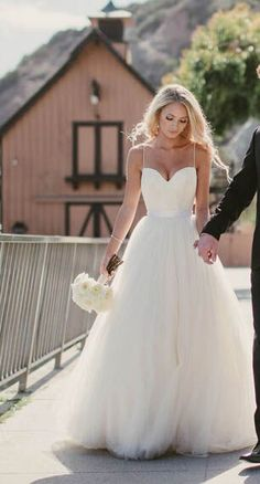 Spaghetti Straps Tulle Sweep Train Appliques Sashes A Line Wedding Dress