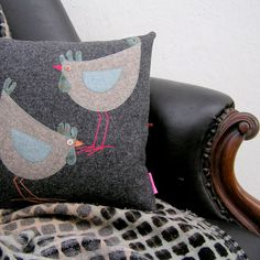 Handmade Folk Art Hen Pillow, Tweed and tartan Cushion with two hens, Hen lovers gift, Folk Art Hen Cushion Machine Applique, Free Machine Embroidery, Sewing Crafts, Sewing Projects, Sewing Ideas, Sewing Patterns, Cushion Inspiration, Applique Cushions, Personalized Pillows