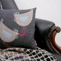 Handmade Folk Art Hen Pillow, Tweed and tartan Cushion with two hens, Hen lovers gift, Folk Art Hen Cushion
