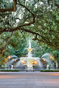 Forsyth Park – This large park in the historic district of the city features the oak trees dripping with Spanish moss, and is the ideal location for a romantic afternoon stroll. Even though Savannah is a Southern tourist hot spot, it unfortunately doesn' Usa Travel Guide, Travel Usa, Travel Guides, Travel Tips, Canada Travel, Nice Travel, Globe Travel, Travel Articles, Budget Travel