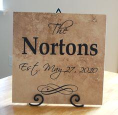 Vinyl ideas   Wedding gift idea--vinyl lettering family tile — Creations by Kara