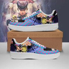 Josuke Higashikata Air Sneakers JoJo Anime Shoes Fan Gift Idea PT06-GearAnime Nike Shoes Air Force, Air Jordan Shoes, Nmd Sneakers, Jojo Anime, Long Toes, Jojo Bizarre, Custom Shoes, Shoe Collection, Snug Fit