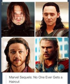 Marvel sequels --- Thor and (young) Xavier do need hair cuts! Loki and Bucky are hot so its all good lol Dc Movies, Marvel Movies, Marvel Heroes, Marvel Avengers, Marvel Funny, Avengers Cast, Avengers Memes, Stucky, Tom Hiddleston