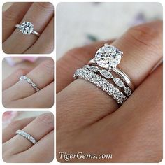 What do you think of stack-able wedding bands? ✨ This is a carat 4 prong solitaire with the art deco band and a 1 carat eternity band. - Create your own ring stack at TigerGems. Engagement Rings Round, Rose Gold Engagement Ring, Vintage Engagement Rings, Solitaire Engagement, Solitaire Rings, Halo Rings, Promise Rings, Diamond Rings, Stackable Wedding Bands