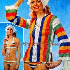 INSTANT DOWNLOAD PDF Vintage Crochet Pattern   Bikini  Beach Cover Up Kaftan and Scarf
