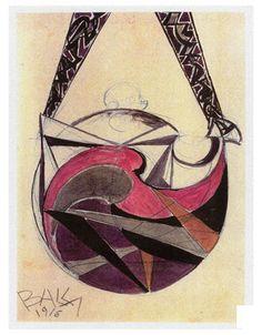 Giacomo Balla was one of the original Futurists. Above is his 1916 design for a Futurist handbag. Luigi, Giacomo Balla, Illustration Sketches, Fashion Illustrations, Deathly Hallows Tattoo, Fabric Art, Geometric Shapes, Fashion Art, Art Nouveau