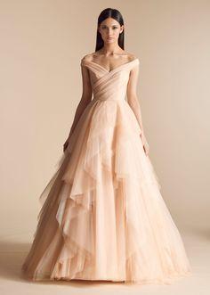 Off the shoulder tulle blush A-line wedding dress. | Allison Webb | Style: AUGUSTA