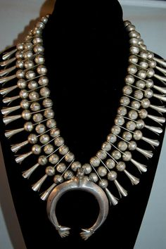 "Huge Vintage Navajo "" Hands of Friendship"" Squash Blossom Sterling Necklace By Nelvin Chee"