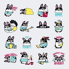 """Gemma Correll designed a sticker set for the new Google Allo app, called """"Pudding the Cry Baby"""" – the stickers feature a sensitive little french bulldog named Pudding."""