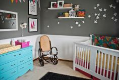 Dark Grey wiht pops of colour and white wainscotting