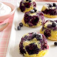 These low-calorie cakes are mostly made up of blueberries with just enough cornbread batter to hold the berries together.