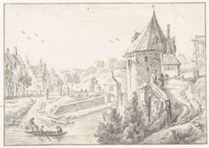 Gezicht op de toren De Hond op de stadswal van Utrecht, Herman Saftleven, 1619 - 1685