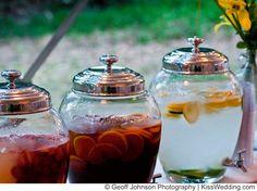 Backyard wedding idea for serving drinks