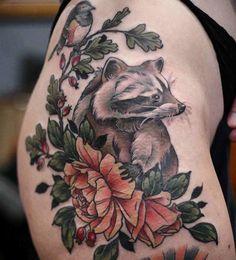 Racoon by Kirsten Holliday Wonderland Tatoos Portland