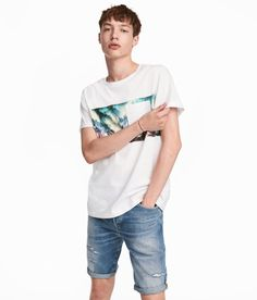 Check this out! Crew-neck T-shirt in cotton jersey with a printed design. Chest pocket and sewn cuffs. - Visit hm.com to see more.