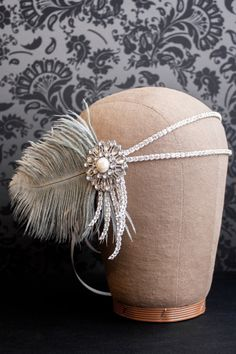 Flapper Headpiece, Vintage Inspired, Bridal Hairpiece, The Great Gatsby, 1920s, 1930s, Party, Roaring 20s, Silver, Gray, Pearl, Feather. $145.00, via Etsy.