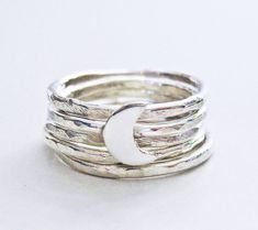 Moon ring, stacking rings, silver rings, crescent moon, sterling silver rings
