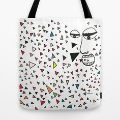 Sick of happiness Tote Bag. Colors and triangles