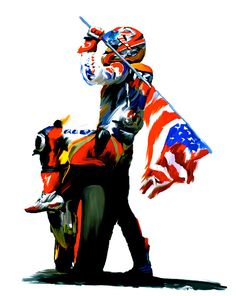 American Revolution Vii Four Nicky Hayden. Beautiful artwork by Iconic Images Art Gallery David Pucciarelli Art Collections. Flat Track Motorcycle, Motorcycle Posters, Motorcycle Art, Bike Art, Motogp, American Motorcycles, Racing Motorcycles, Racing Bike, Road Racing