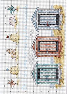 Beach huts X-stitch pattern Cross Stitch Sea, Cross Stitch Bookmarks, Cross Stitch Needles, Cross Stitch Charts, Cross Stitch Designs, Cross Stitch Patterns, Cross Stitching, Cross Stitch Embroidery, Embroidery Patterns