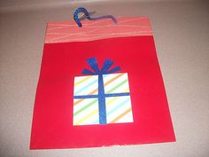 GIFT BAG - MULTI-COLOR ONE BAG. RED COLOR. MEDIUM SIZE. NEW