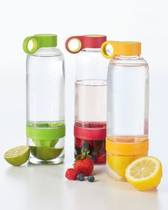 Unique water bottle designed for citrus fruits that allows you to press lemons, limes, and clementines directly into your water, creating deliciously flavored drinks that are all-natural and free of refined sugars and artificial ingredients. $18