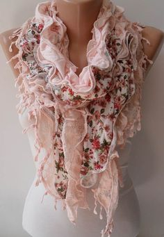Salmon Lace - Cotton Scarf - Summer Collection