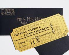 Old Hollywood Art Deco Gold Movie Ticket by brighteyedbirdie