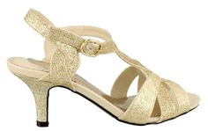 """Easy Street Glamorous Women's Sandal 7.5 2A(N) US Gold-Glitter. The Glamorous is just that! Feel and look your best in this beautiful evening shoe. Synthetic upper with braided vamp and adjustable buckle. Lightly cushioned footbed. 2"""" heel height."""