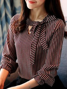 Autumn Spring Women Tie Collar Striped Long Sleeve Blouses - New In Tops Women Ties, Blouses For Women, Blouse Styles, Blouse Designs, Fashion For Petite Women, Business Outfit, Petite Outfits, Petite Dresses, Summer Dresses For Women