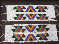 Africa | Pair of male dance leg bands from the Zulu people. Coastal Ngoma district. African History, African Art, African Prints, Xhosa, Kwazulu Natal, African Textiles, African Beads, South Africa, Arts And Crafts