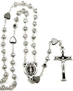 Metal heart beads #rosary with silver finish links, heart hematite our father #beads, black enameled Miraculous medal center and a black enameled #Crucifix. Made in #Italy. (sku 4-1451)